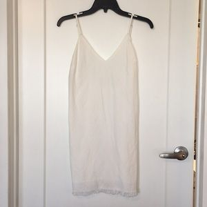 White midi spaghetti strap dress